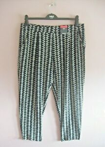 M&S Size 18 Short Black + Cream Stretch Taper Leg Elasticated Casual Pants NEW