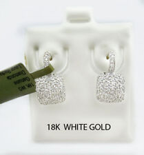 GENUINE 1.68 Cts DIAMONDS DANGLING EARRINGS 18k White Gold  *** FREE APPRAISAL