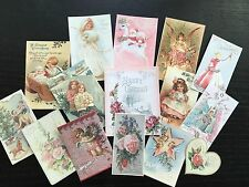 BB67 Lot of 15 Adorable VINTAGE & VICTORIAN PINK CHRISTMAS DIE CUTS 4 crafts
