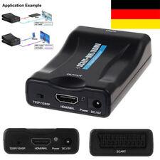 1080P SCART auf HDMI Audio Upscale Konverter Adapter TV HD DVD Mit USB Kable ~DE