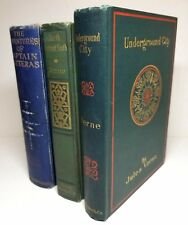 Antique Jules Verne Books ILLUSTRATED Hatteras, Underground City, North v South