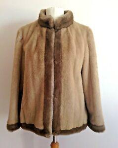 ASTRAKA Vintage Faux Fur Light Tan Mandarin Neck Collar Jacket Size 16.