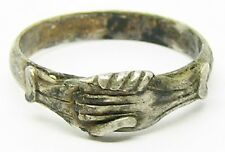 Ancient Renaissance Silver Fede Wedding Ring c. 1550 - 1650 AD Size 9 3/4