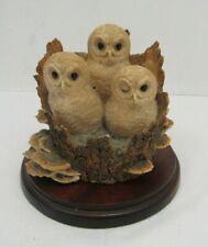 Border Fine Arts Tawny Owlets 3 Baby Owls On A Tree Stump Ornament - WAR P39