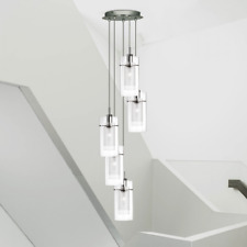 5-flammige Lámpara Colgante, Colgante Iluminación Metal Cristal Led de Péndulo,