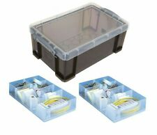 9 Litre  Smoke Colour Really Useful Box with Two 7 Compartment Trays