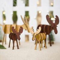 Novelty Elk DIY Vintage Figurines Assembled Wooden Reindeer Ornaments