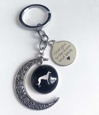 """Greyhound Keyring with Split Ring """"I Love You to the Moon and Back"""""""