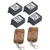 DC 24V 4X1CH Relays Wireless Remote Control Switch RF Peach-Wood 2 Transmitter
