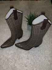 WOMENS NATURE BREEZE BROWN PLAID COWBOY RAIN BOOTS 6