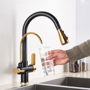 3 Way Water Filter Kitchen Taps Pull Out Pure Drinking 2 Level Brass Sink Mixer