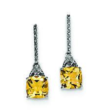 .925 Sterling Silver Genuine Diamond Citrine Stud Earrings (0.01 CTW) MSRP $208