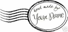 UNMOUNTED PERSONALIZED 'HAND MADE BY' RUBBER STAMPS H70