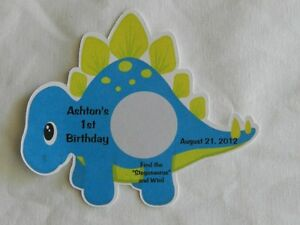 UNIQUE PERSONALIZED DINOSAUR BIRTHDAY, BABY SHOWER SCRATCH OFF GAME PARTY FAVOR