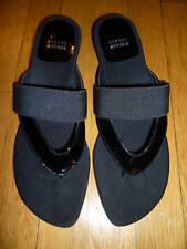 NIB: STUART WEITZMAN Black EMBRACE Slides/Sandals 10.5M