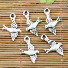 26pcs tibetan silver plated 2sided flying bird charms EF2212
