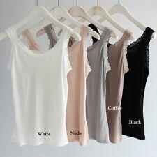 Women Knit Pure Silk Tank Top Camisole Floral Lace Strap Stretch Vest Undershirt