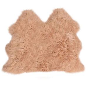 Lambland Large Sheepskin Rug Warm Beige UK Made Fluffy Luxury Size Side by Side