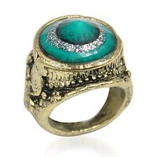 Fashion Chic  Green Golore Bronze Tone Ring Special for Wearing Size: 5