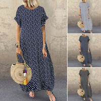 ZANZEA 8-24 Women Long Maxi Sundress Kaftan Vintage Loose Baggy Polka Dot Dress
