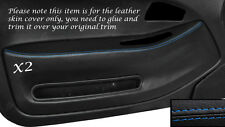 BLUE STITCH 2X FRONT DOOR CARD TRIM SKIN COVERS FITS HONDA CIVIC COUPE 92-95