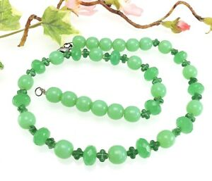 Wired Green Glass Bead Necklace - Pressed Glass