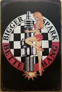 SPARK PLUG GIRL Rustic Metal Tin Sign. Vintage Retro  Garage, & Man Cave Pub