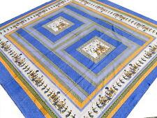 Couvre-lit Éléphants Motifs Indiens Bleu Dessus de lit Tenture Boho Coton Inde B