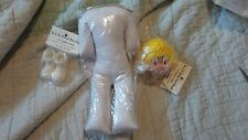 Vintage Nwt Clown Doll Head Yellow Hair Stuffed Body 10 inches Plastic Shoes