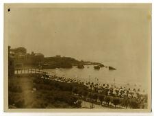 Biarritz 1930 : la Grande Plage & ses cabines, & Casino Bellevue - Photo Vintage