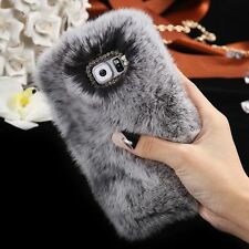 Warm Winter Soft Fluffy Rabbit Fur Case Crystal Hard Phone Cover for Samsung