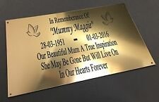 BP66 Personalised Gate Wall ABS Engraved Brass Memorial Plaque Sign Grave Marker