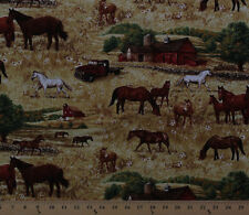 Horses Barns Country Fields Farm Animals Cotton Fabric Print by Yard D583.40