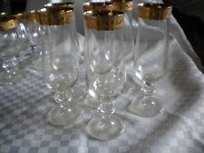 6 x Sekt Kristall Press Glas mit aufwendiger Gold Verzierung org. vintage