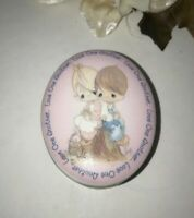 Enesco Precious Moments Love One Another Jewelry Trinket Pill Box Vintage