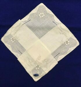"Vintage Antique Linen Handkerchief-12"" Raised Sunflower -NEW (old) #43-(C21C)"