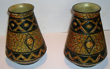 Pair of Pottery Art Deco Vases - Unusual Design - Made In England -Maker unknown