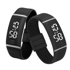 Mens Watch Womens Rubber LED Watch Date Sports Bracelet Digital Wrist Watch BK