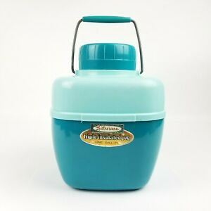 Vintage Lustro Ware Two Toned Blue Teal Triple Insulated Jug 1 Gallon