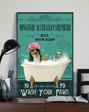 Miniature Australian Shepherd and Co Bath Soap Wash Your Paws Dog Poster