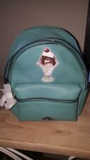 NWT COACH F28488 MINI BACKPACK IN BLUE GREEN WITH ICE CREAM MOTIF ~ MSRP $325.