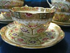 WILLIAM LOWE, ENGLAND, VINTAGE COURT PATTERN, 5 CUPS & SAUCERS - VGC