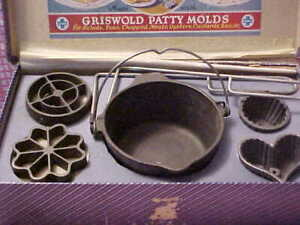 Griswold #3 Patty Molds & Deep Patty Bowl #72 with Original Box Very Good!!!