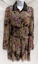 GRYPHON New York Womens Brown Tan Silk Chiffon Boho Sequin Shirt Dress L 9 10