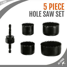 5 PC 4 SIZES WOOD TIMBER HOLE SAW SET BIT KIT HOLESAW CUTTER DRILL HIGH QUALITY
