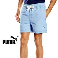 Puma Mens Strong Blue Denim Like Cotton Shorts Casual Free Tracked Post