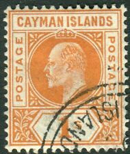 CAYMAN ISLANDS-1905 1/- Orange.  A fine used example Sg 12