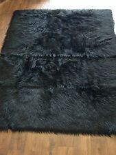 Black EX - Large Faux Sheepskin Shaggy Flokati Rug Carpet Non-Slip UK MADE
