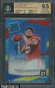 2017 Donruss Optic Red Yellow Prizm #177 Patrick Mahomes II RC Rookie BGS 9.5