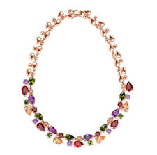 Luxury Gift Natural Garnet Amethyst Gems Silver Plated Multi-Color Necklaces